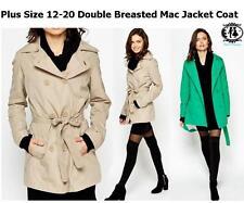 LADIES PLUS SIZE 12 - 20 XXXL DOUBLE BREASTED TRENCH COAT BLAZER MAC JACKET WORK