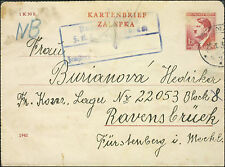 1943 Brno Germany Letter Cover Ravensbruck Concentration Camp Hedricka Burianova