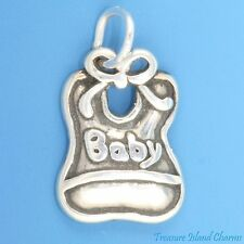 BABY BIB .925 Solid Sterling Silver TRADITIONAL Charm MADE IN USA