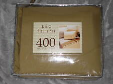 King 400 TC Tan Sheet Set Microfiber Wrinkle Free Bed Sleep NEW!