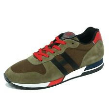 8033AB sneakers uomo HOGAN H383 suede green/black shoes men