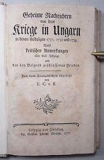 SCHMETTAU: GEHEIME NACHRICHTEN VON DEM KRIEGE IN UNGARN / TÜRKENKRIEGE, 1772 EA