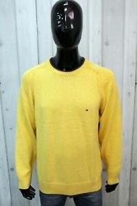Maglione Tommy Hilfiger Uomo Taglia L Giallo Cotone Sweater Maglia Pullover Man
