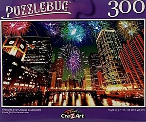 """FIREWORKS OVER CHICAGO SKYSCRAPERS-PUZZLEBUG 300 Piece Jigsaw Puzzle 18.25""""x11"""""""