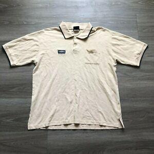 Vintage Umbro Mens Large Embroidered Logo Polo Shirt Beige