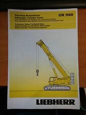 Liebherr Telescopic Crawler Crane LTR 1100 Load Information Manual Book