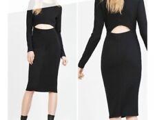 ZARA Large 12 14 Black Dress Cut-Out Stretch Bodycon Midi Wiggle Party Clubbing