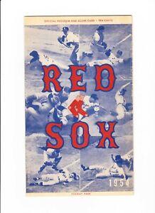 1954 BOSTON RED SOX vs Philadelphia baseball program Scorecard