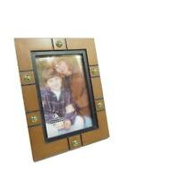 """English Walnut Picture Frame Holds 4"""" x 6"""" Black Trim Antique Brass Brads Malden"""