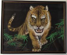 Vintage framed signed original Asian painting on silk growling tiger bamboo