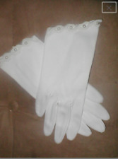 Vintage 1950's off-white Cotton Dress Gloves with Pearls