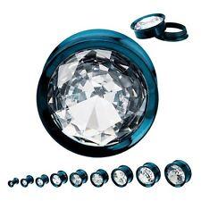 """PAIR-Super Gem Titanium IP Blue Screw On Plugs 14mm/9/16"""" Gauge Body Jewelry"""