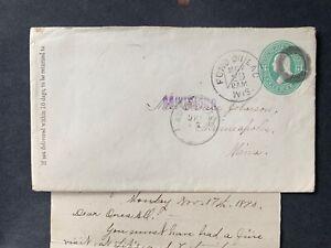 1890 FOND DU LAC WI FANCY CANCEL +LETTER +2 ADVERTISED AUX ! MINNEAPOLIS MN BACK