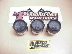 """3 AUTOMETER 2-1/16"""" Elite Gauges Oil & Water Pressure & Voltmeter NASCAR"""