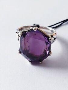 John Hardy Kali Batu Ring 16x14mm Amethyst Silver 7 $1295 NWT