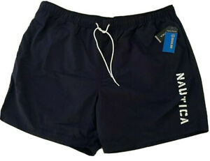 NWT Nautica Men Swim Shorts Trunks Navy Blue Quick Dry Big Tall 4XL 4X NAUTICA