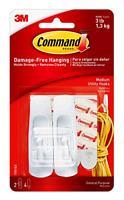 Command Utility Hooks, Medium, White, 2-Hooks (17001ES), Organize Damage-Free