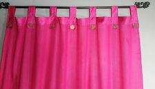 Bali Natural Cotton Coloured Tab Curtains (Pair) Pink