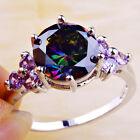 Women Fashion Rainbow Topaz Amethyst Gemstone Silver Ring Size 6 7 8 9 10 11 12