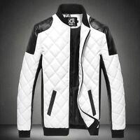 Men's Fashion Slim Fit Motorcycle PU Leather Jacket Winter Warm Coat Bomber Hot