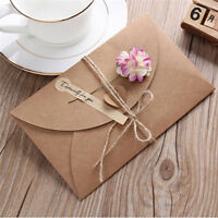 5Pcs Retro Dried Flower Envelope DIY Handmade Note Birthday Party Greeting Card