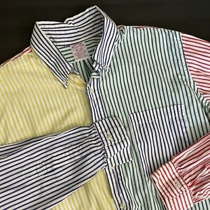 Vintage Brooks Brothers Multi Color Striped Button Down Sport Shirt 16.5/R ~USA~