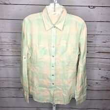Woolrich Womens Button Front Long  tab sleeve Shirt Size M