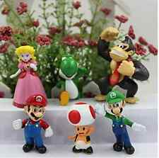 6 pcs Super Mario Bros Luigi Action Figure kid Gift Cake Topper Toy US Seller