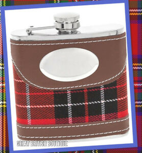 Perfect for Dad/Grandad! - Tartan And Faux Leather 6oz Stainless Steel Hip Flask