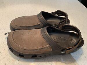 CROCS YUKON VISTA Clogs Mens 14 Sports Beach Espresso brown sandals Leather