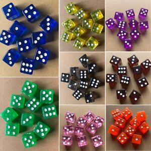 10X 16mm 6-Sided D6 RPG Clear Transparent Straight Corner Dice Party Tool New