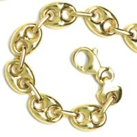 18K YELLOW GOLD MARINER BRACELET BIG 8 MM, 8.3 INCHES, ANCHOR ROUNDED OVAL LINK