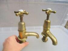 """Edwardian Brass Bath Taps Architectural Antique Porcelain Caps """"Sanitor"""" Vintage"""