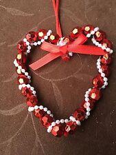 Shiny Beaded Heart Ornament Craft Kit, Glossy Metallic Pearl, $10=Free Shipping