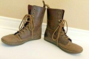 Doc Dr Martens TEHANI Plaid Lined Combat Punk Boots Woman's BROWN-SOFT Sz 10