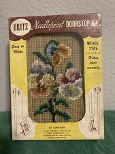 Vintage Dritz  Floral Flowers Needlepoint  Doorstop Kit