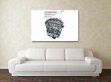 Audi 5 Cylinder Engine - 30x20 Inch Canvas - Framed Picture Print