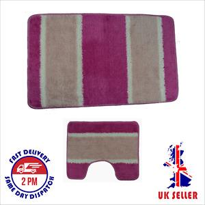Bath Mat Set pack of 2, Non, Anti Slip, Soft, Made in Turkey, Striped, Clearance