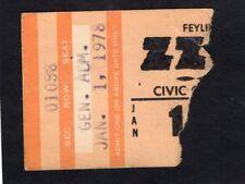1978 Zz Top Muddy Waters Concert Ticket Stub Worldwide Texas Tour