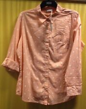 Sz 18 M&S Woman Beautiful Pure Cotton Tangerine/White (Orange Mix)  Shirt BNWT