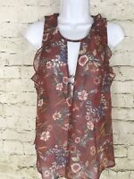 Anthropologie Willow & Clay Top Sleeveless New Burgundy Floral Blouse Medium