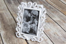 "Vintage Ornate Shabby Chic Antique Picture frame photo frame White 5"" x 3"""