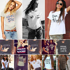 Women Ladies Summer Casual Cotton Tops Loose Blouse Shirt Crew Neck T-shirt Tee