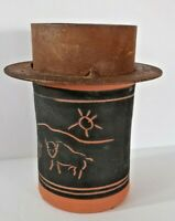 Vintage Southwestern Folk Art Pottery Vase Buffalo Motif Metal Rustic Top Signed