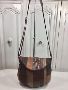 THE SAK Deena Brown Studded Patchwork Leather Flap Over Crossbody Messenger