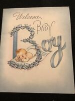 """#3289🌟Vintage 40s Rust Craft """"Welcome Baby BOY"""" Greeting Csrd Ribbon"""