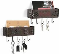 Set of 2 with 5 Hooks Rack Holder Organizer Wall Mount for Coat Leash Key