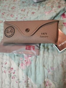Ray Ban Brown Beige Leather Sunglasses Case w/ cleaning Cloth - 1971 Square