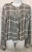 Bella Dahl Shirt Gray And White Baby Doll LS NWT Size Xs