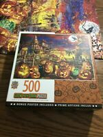 Master Pieces Halloween JOL Glow In Dark 500 Pc Jigsaw puzzle Pre Owned